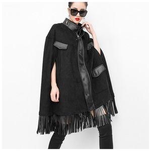 Black Fringe Vegan Leather Cape Jacket